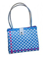blue checked 60s bag