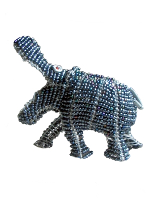 wire and beadwork animals- hippo