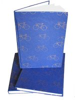journal with bicycles on cover, handmade paper journal