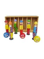 fair Trade Toys- Wooden Clown Skittle Set
