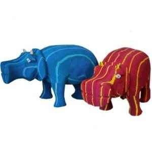 recycled rubber hippos