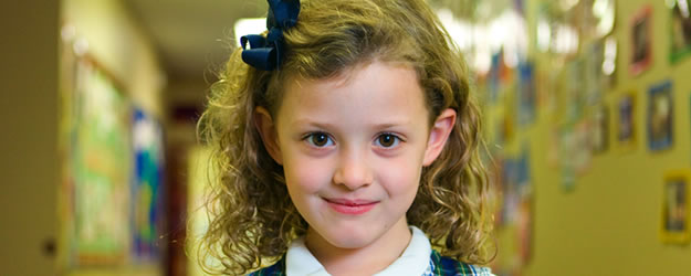 Elementary School Girl Curly Hair
